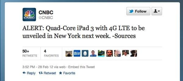 CNBC: Quad-core iPad 3 with LTE to be unveiled in New York (update: not New York)
