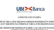Ubi Banca cede 900 mln lordi di Npl, Cet1 migliora di 1 punto