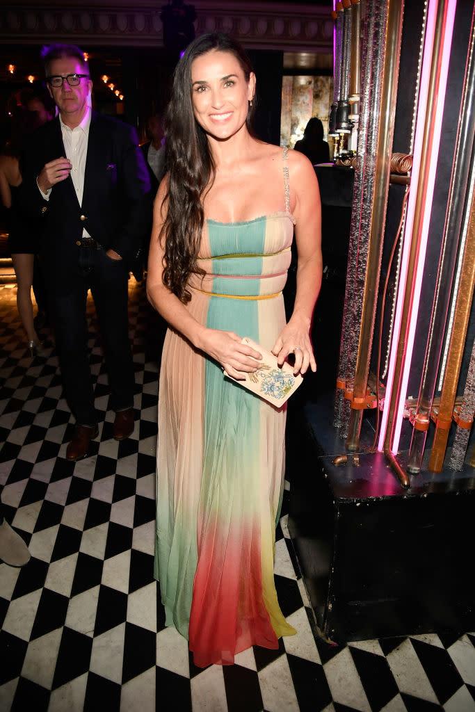 Demi Moore Wears Rainbow Dress To Premiere