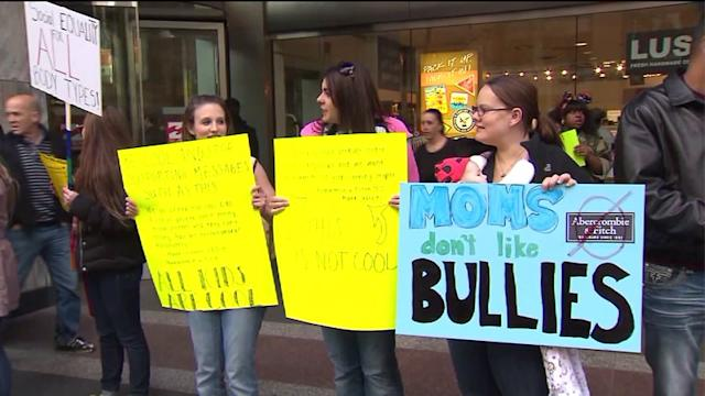 Crowd hold protest outside Abercrombie and Fitch on Mag Mile