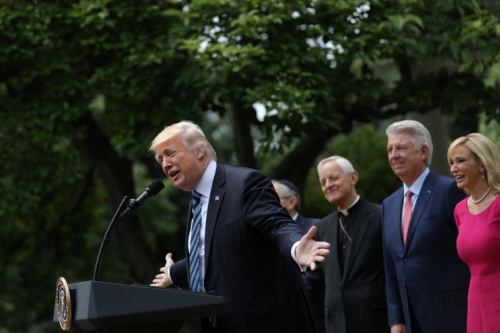 President Trump speaks during an event at the Rose Garden of the White House. (Photo: Carlos Barria/Reuters)