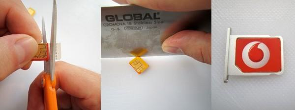 How to create your own Micro SIM card using a chef knife and some scissors