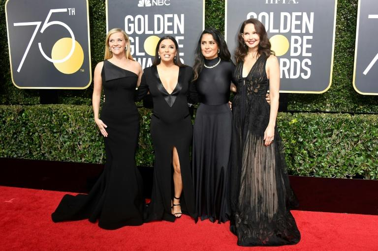 Actors Reese Witherspoon, Eva Longoria, Salma Hayek, and Ashley Judd attend The 75th Annual Golden Globe Awards at The Beverly Hilton Hotel on January 7, 2018 in Beverly Hills, California (AFP Photo/Frazer Harrison)