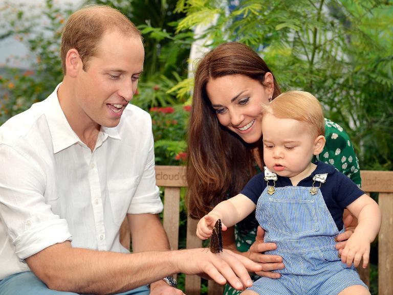 Prince William (L), Catherine, Duchess of Cambridge and Prince George visit the Sensational Butterflies exhibition at the Natural History Museum in London on July 2, 2014 (AFP Photo/John Stillwell)