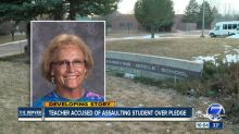 Teacher suspended for allegedly assaulting student who refused to stand for the Pledge of Allegiance