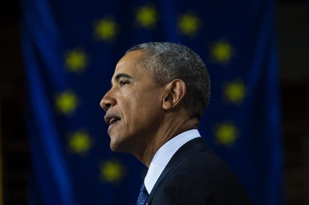 """US President Barack Obama argued that """"turning inward"""" was not the answer to Europe's problems, as he delivered a keynote address during a visit to the German city of Hanover, on April 25, 2016 (AFP Photo/Jim Watson)"""