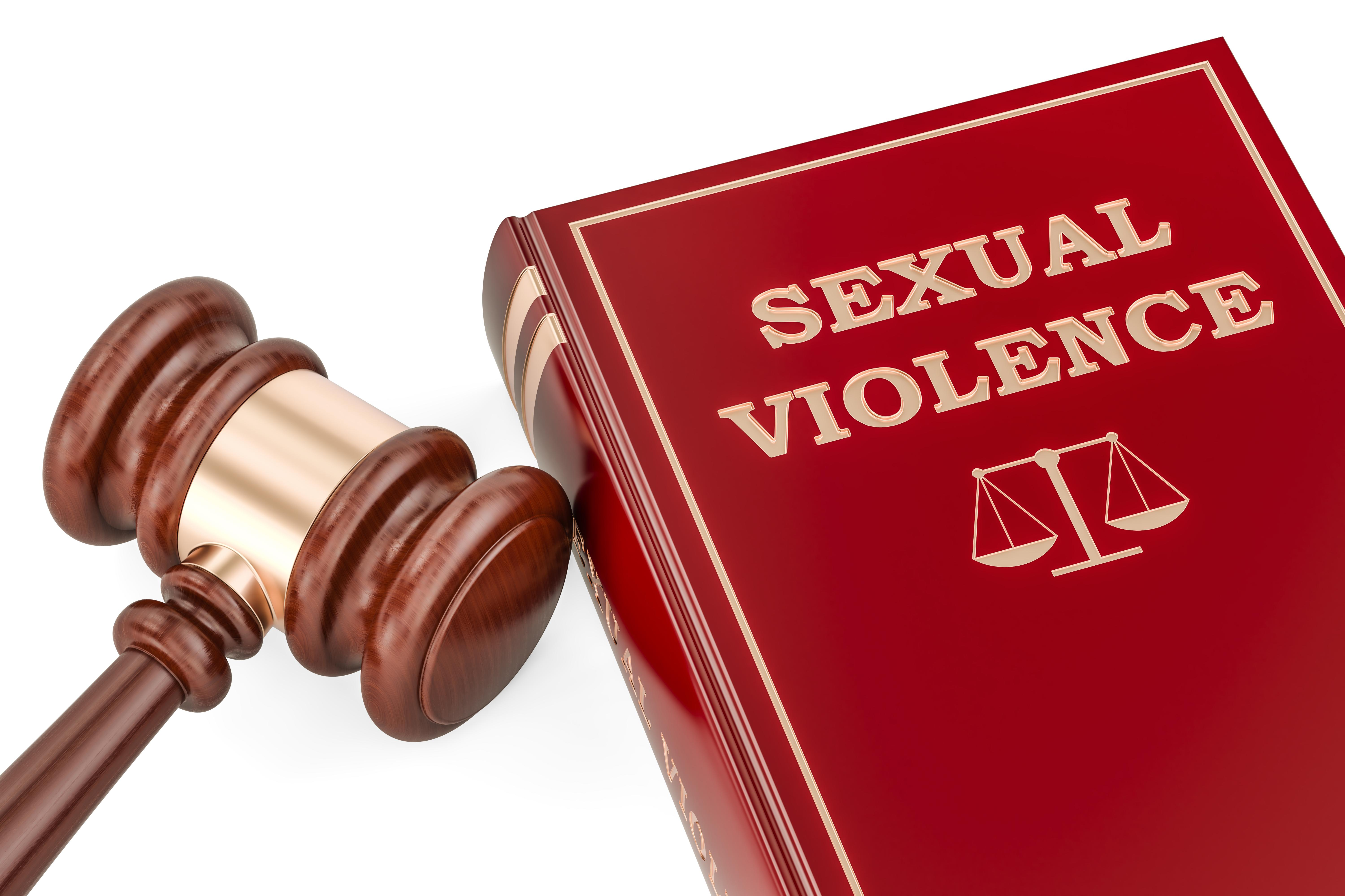 Sexual violence concept with gavel and book, 3D rendering