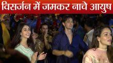 Aayush Sharma enjoys with Warina Hussain at Ganpati Celebration; Watch Video