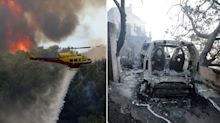 Homes and cars destroyed as huge wildfires tear through south of France