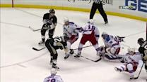 Hornqvist chips the puck behind Lundqvist