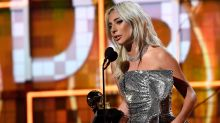 Lady Gaga Tearfully Accepts GRAMMY for 'Shallow' Without Bradley Cooper