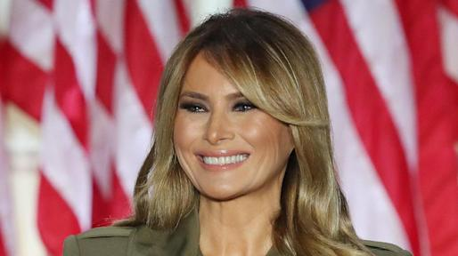 Melania Trump Unveils Rose Garden Sculpture In A Printed Skirt Square Toe Flats