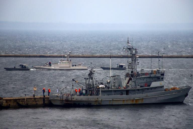 The two gunboats and a tugboat were handed back this week after they were held in evidence following what Moscow says was an illegal breach of the Russian border (AFP Photo/Oleksandr GIMANOV)