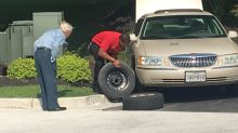 Chick-fil-A manager changes flat tire for restaurant regular, 96, who's a WWII veteran