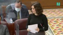 El incómodo momento de Ayuso con Aguado y dos consejeros en pleno debate en la Asamblea: su mirada lo dice todo