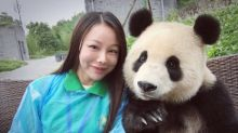 Panda a natural at posing for selfies
