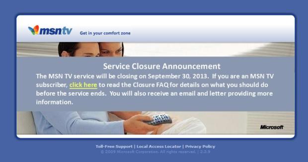 Microsoft shutting down MSN TV this September