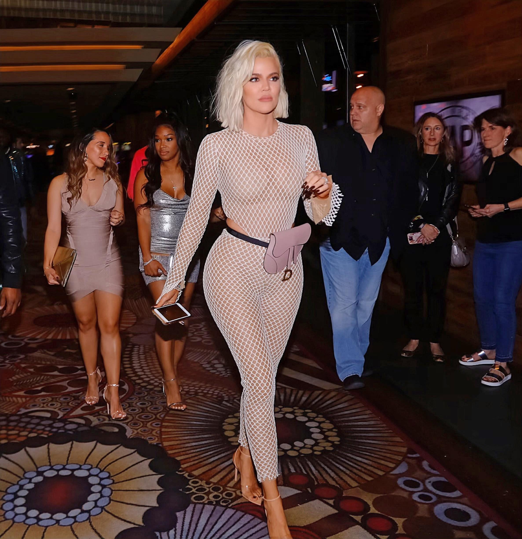 f6c68ea0e8b Khloé Kardashian Wore a Totally See-Through Bodysuit