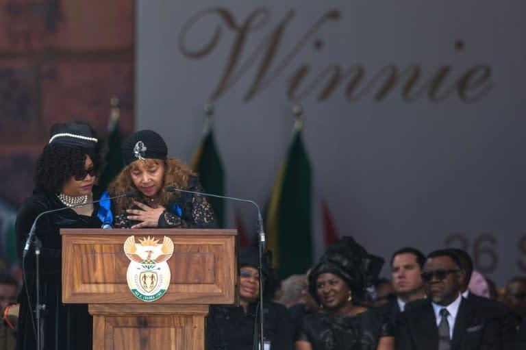 Zindzi Mandela, left, and her sister Zenani Mandela-Dlamini, at the funeral of their mother, Winnie Madikizela-Mandela in April 2018 (AFP Photo/Wikus DE WET)