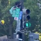 Protesters Yell at Person Taking Down Street Sign During Washington Demonstration