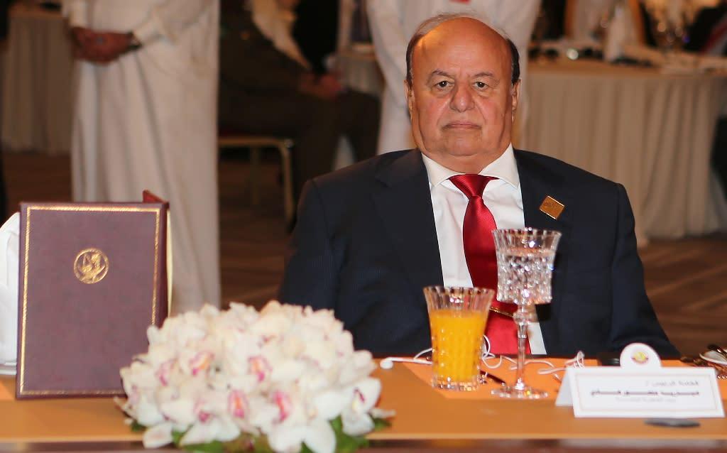 Yemeni President Abedrabbo Mansour Hadi attends the 16th Doha Forum in the Qatari capital Doha on May 21, 2016 (AFP Photo/Karim Jaafar)