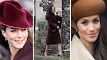 Kate and Meghan's Christmas Day outfits through the years in pictures