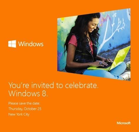 Microsoft sends out a Save the Date for Windows 8, all to be revealed in NYC on October 25th