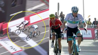 'Oh dear': Cyclist stunned after celebrating too soon