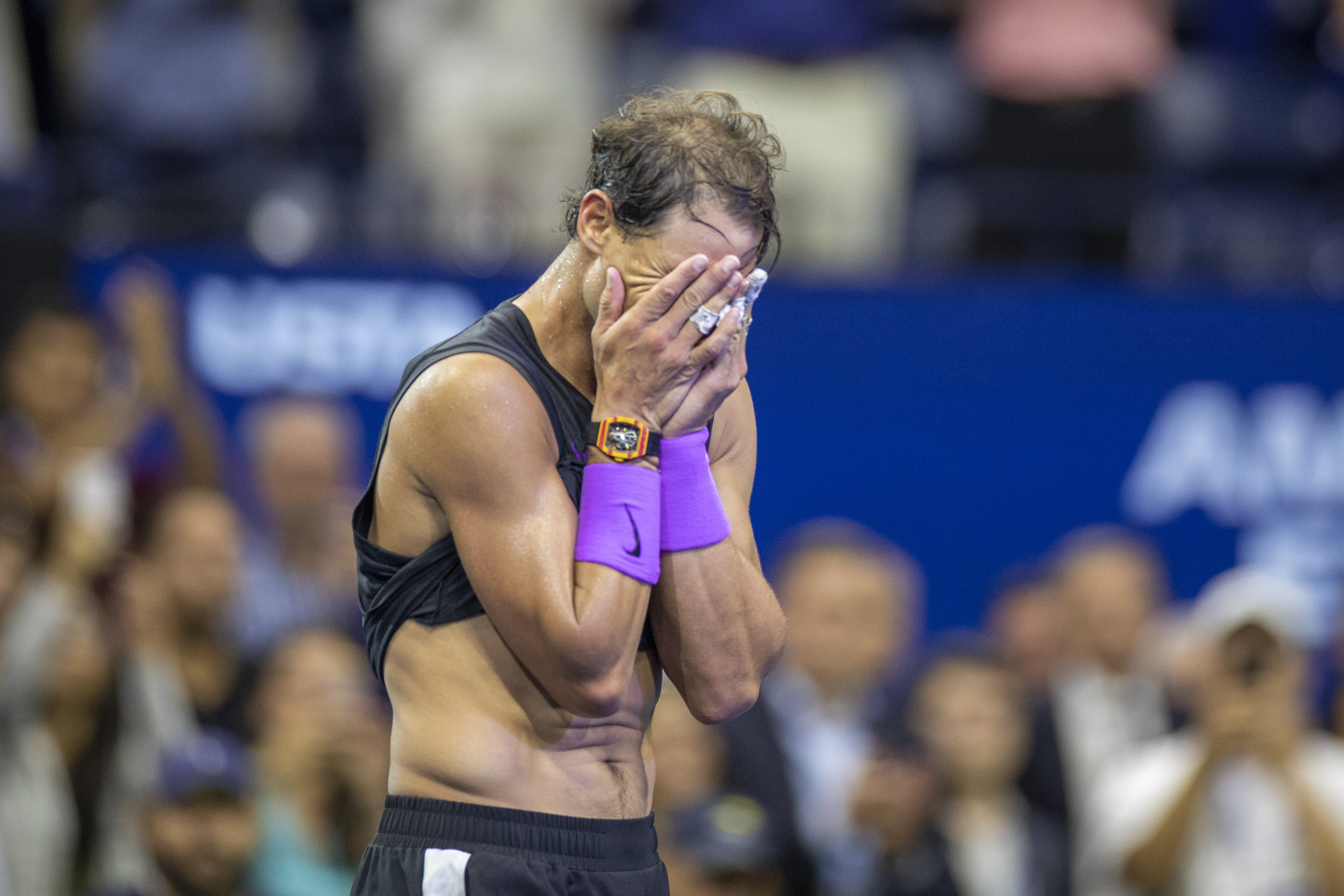 An exhausted Rafael Nadal wins the US Open (Photo by Tim Clayton/Corbis via Getty Images)