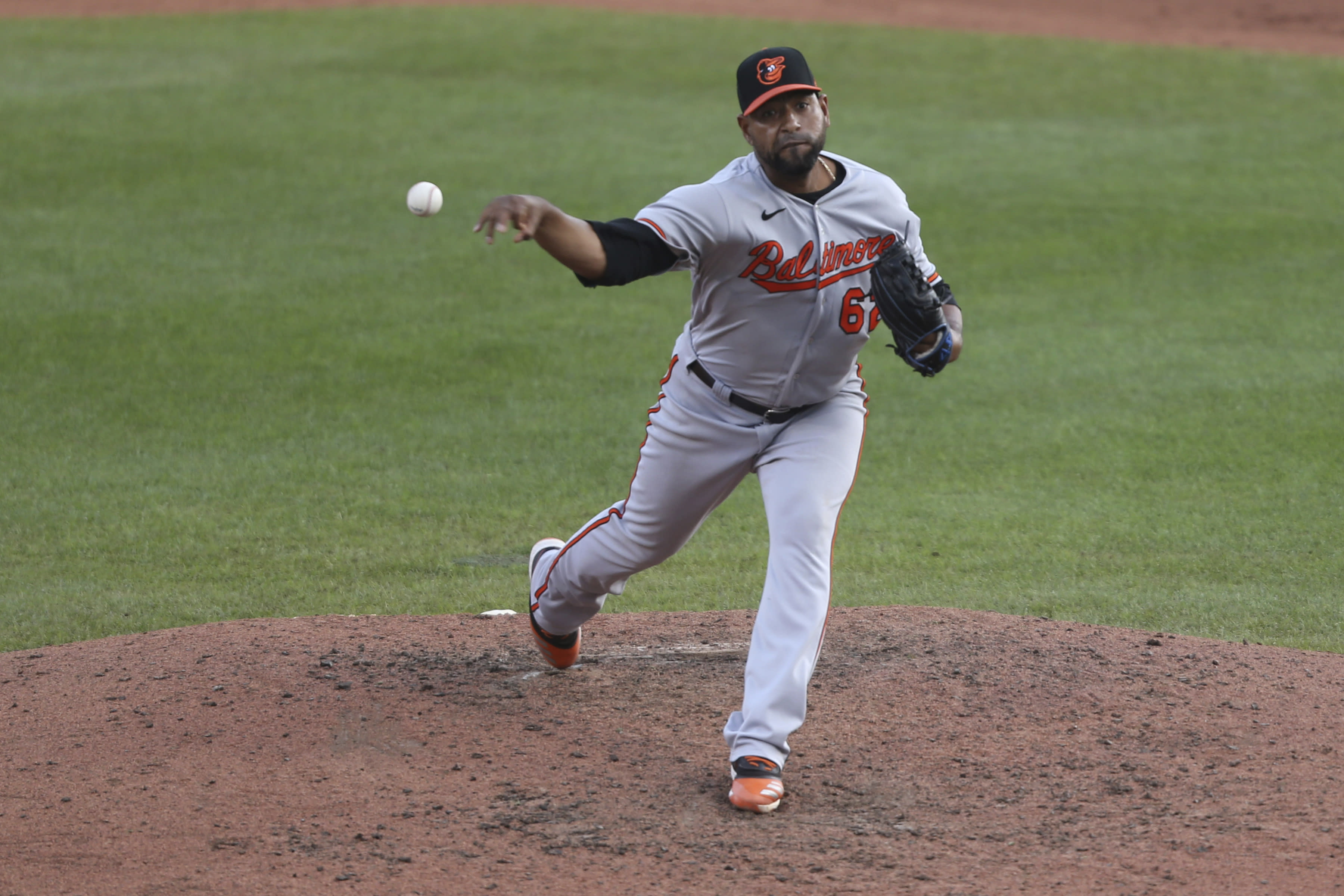Baltimore Orioles pitcher Casar Valdez delivers to Toronto Blue Jays Cavan Biggio during the ninth inning of a baseball game, Sunday, Sept. 27, 2020, in Buffalo, N.Y. (AP Photo/Jeffrey T. Barnes)