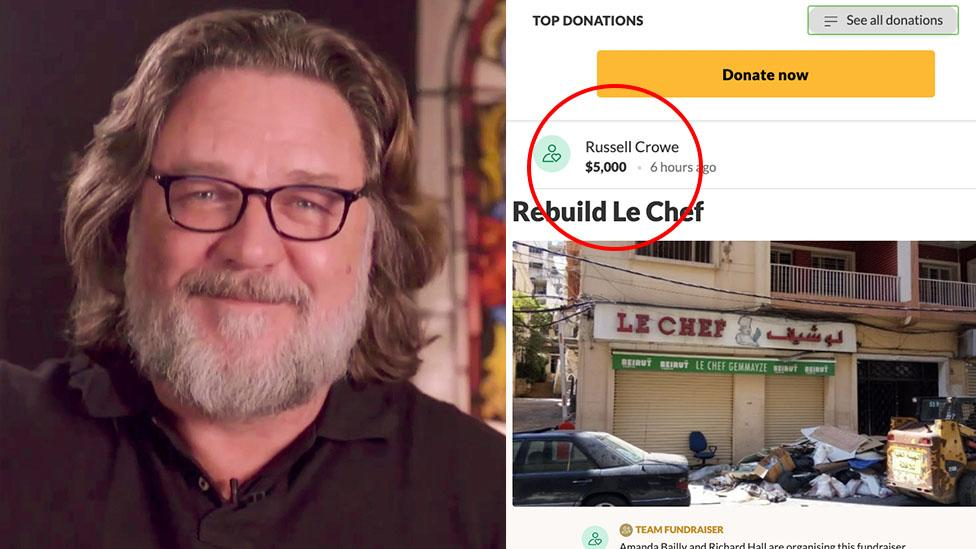 Russell Crowe's $5k donation to Beirut diner stuns organisers
