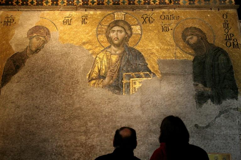 The mosaics of the Hagia Sofia betray its Christian origins (AFP Photo/STR)