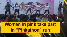 "Women in pink take part in ""Pinkathon"" run"