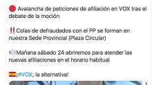 """Cachondeo con este tuit de Vox Murcia: hablan de """"avalancha"""" de nuevos afiliados pero mira la foto"""
