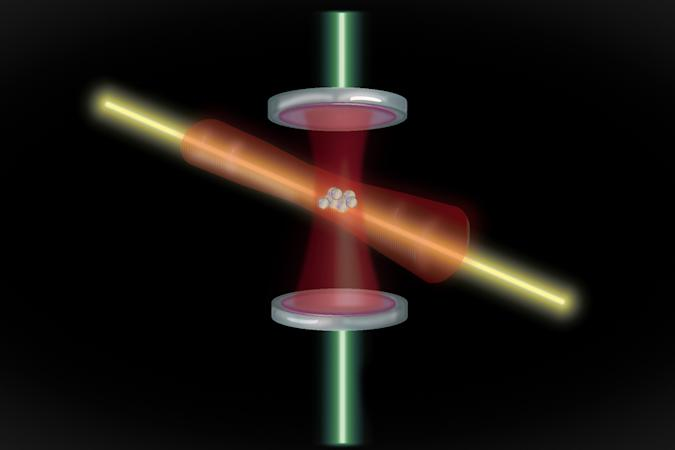 A laser measuring an atom's movement in an atomic clock