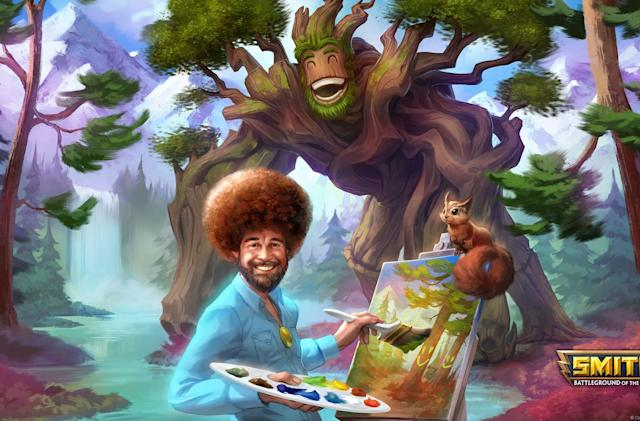 'Smite' adds Bob Ross as a paint-throwing playable character