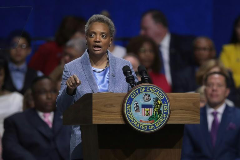 Chicago Mayor Lori Lightfoot, pictured in May 2019, called a video of a policeman slamming a detained man onto the street 'very disturbing'