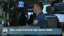 Dow Ends at All-time High Above 15000