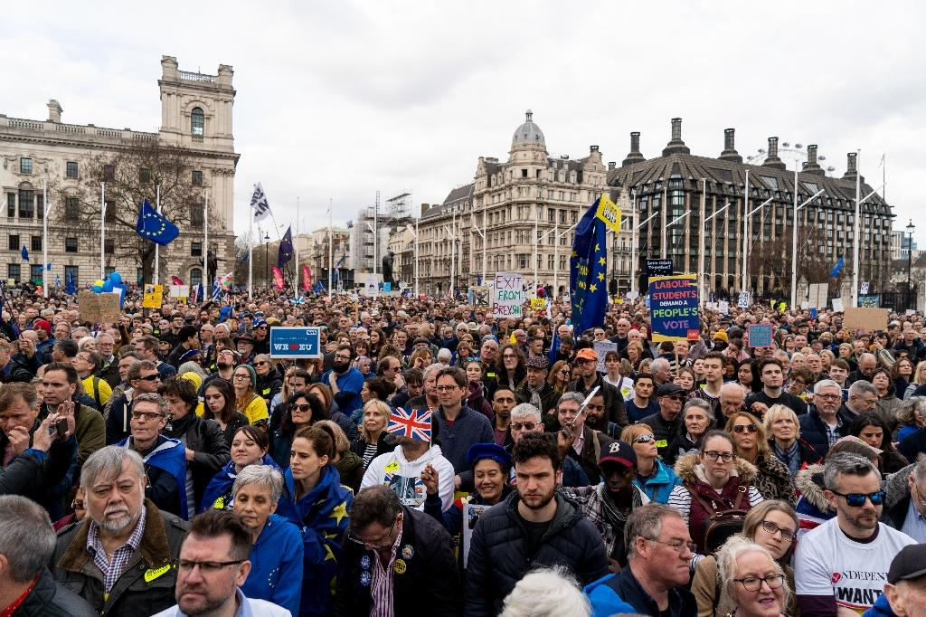 On Saturday, an estimated one million pro-Europeans marched through central London demanding another public vote on leaving the bloc, according to organisers (AFP Photo/Niklas HALLE'N)