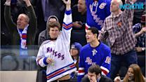 Ansel Elgort and Violetta Komyshan Heat Up the Hockey Game With Some Steamy PDA--See the Pics!