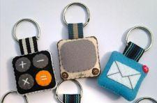 iPhone icons in felt keychain form