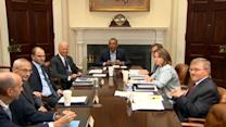 Obama meets with advisors following weekend air strikes in Iraq