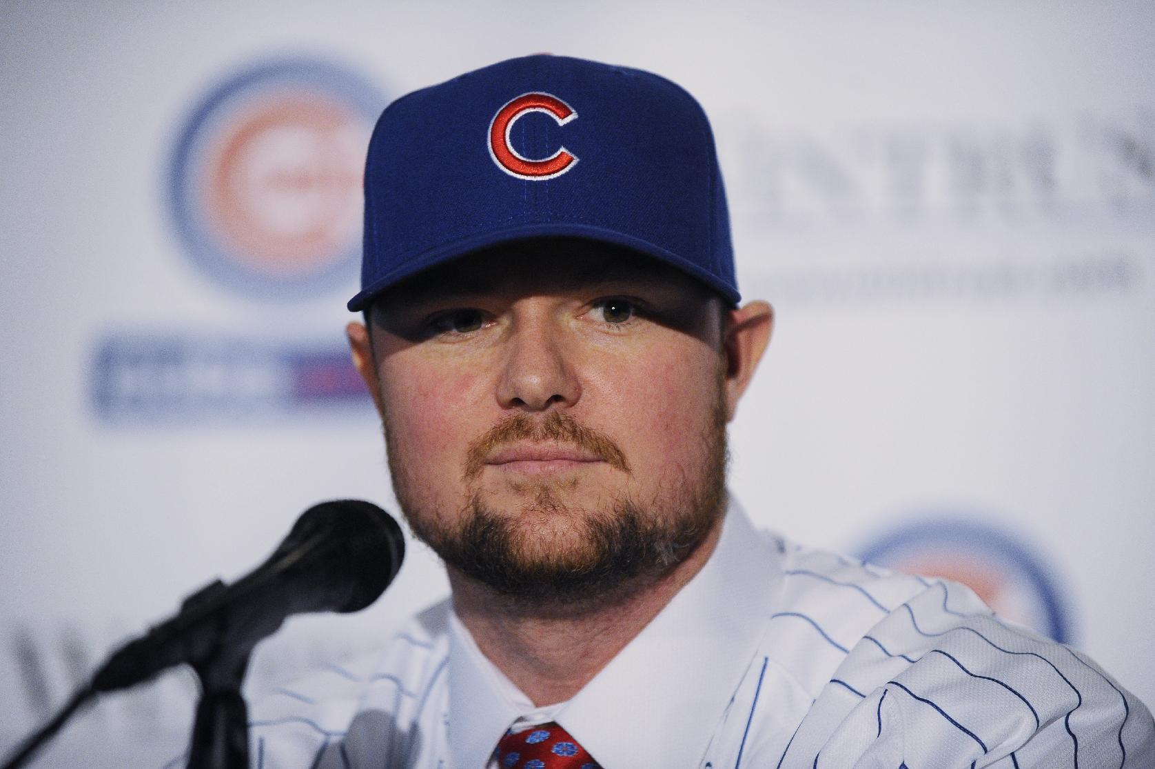 Pitcher Jon Lester attends an introduction press conference by the Chicago Cubs on December 15, 2014 in Chicago, Illinois