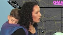 Internet full of praise for meteorologist wearing her baby during weather forecast