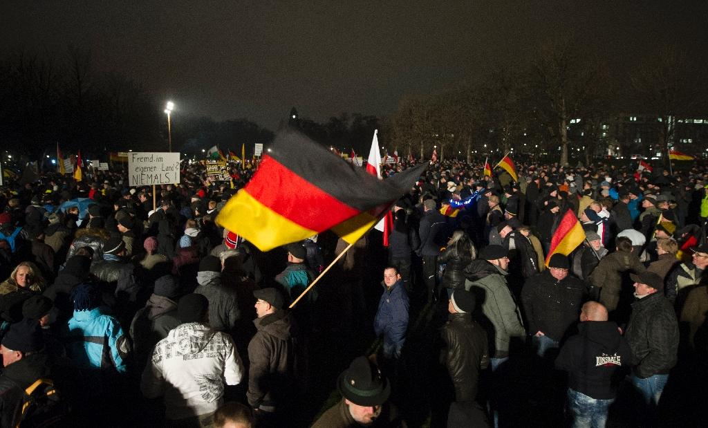 A rally by the far-right group Pegida attracted huge crowds in Dresden in January (AFP Photo/Robert Michael)