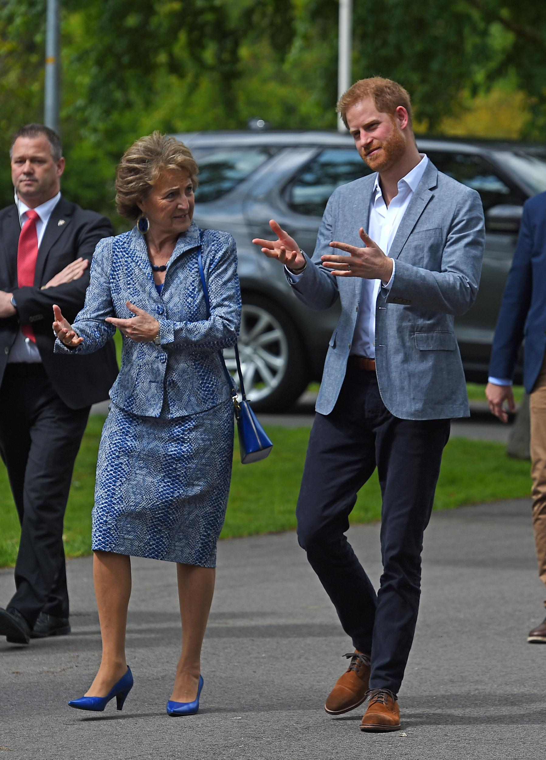 The Duke of Sussex with Princess Margriet of the Netherlands as he arrives for one day visit to Amsterdam in the Netherlands. (Photo by Kirsty O'Connor/PA Images via Getty Images)