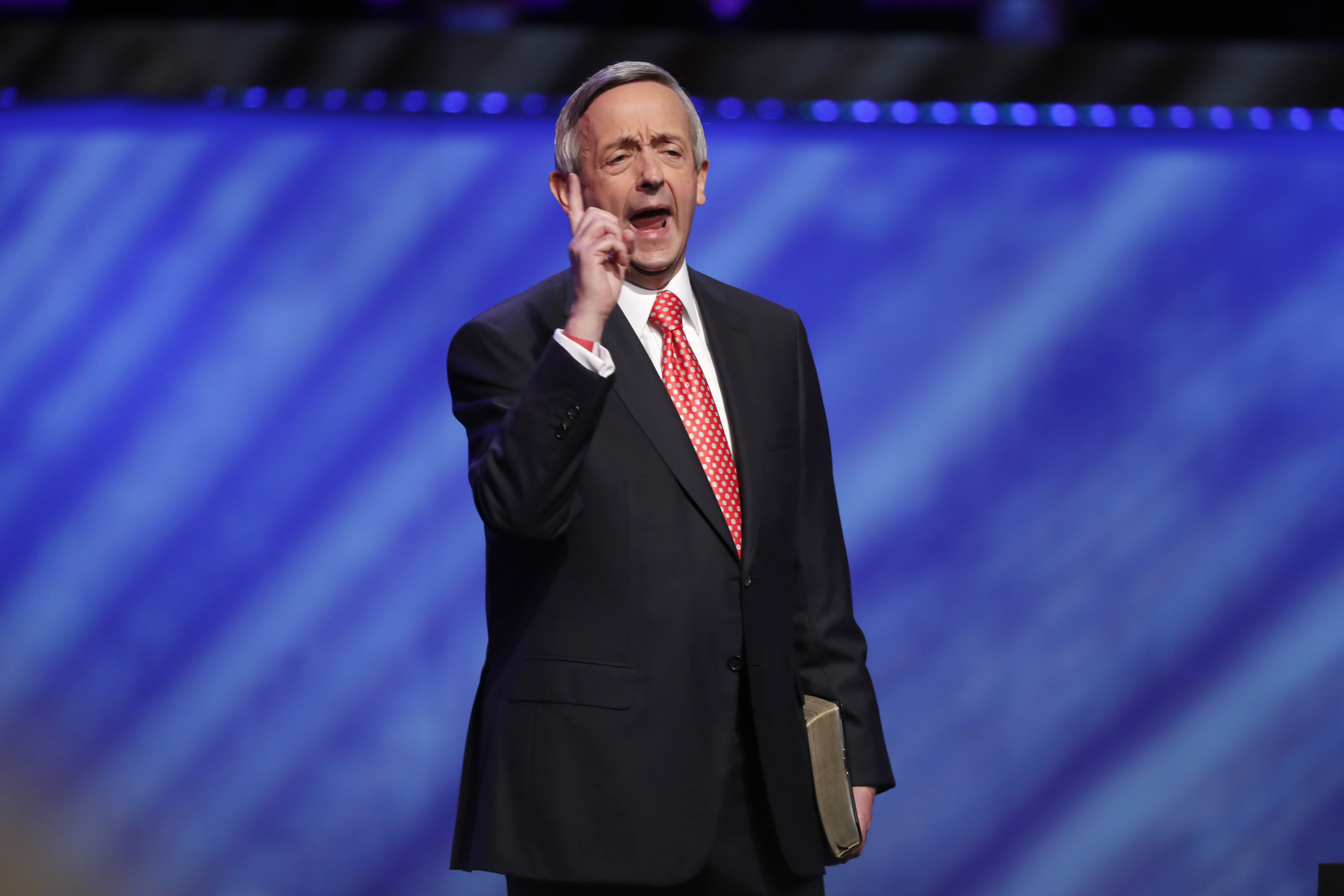 Senior Pastor Dr. Robert Jeffress addresses attendees before Vice President Mike Pence spoke at the Southern Baptist megachurch First Baptist Dallas during a Celebrate Freedom Rally in Dallas, Sunday, June 28, 2020. (AP Photo/Tony Gutierrez)