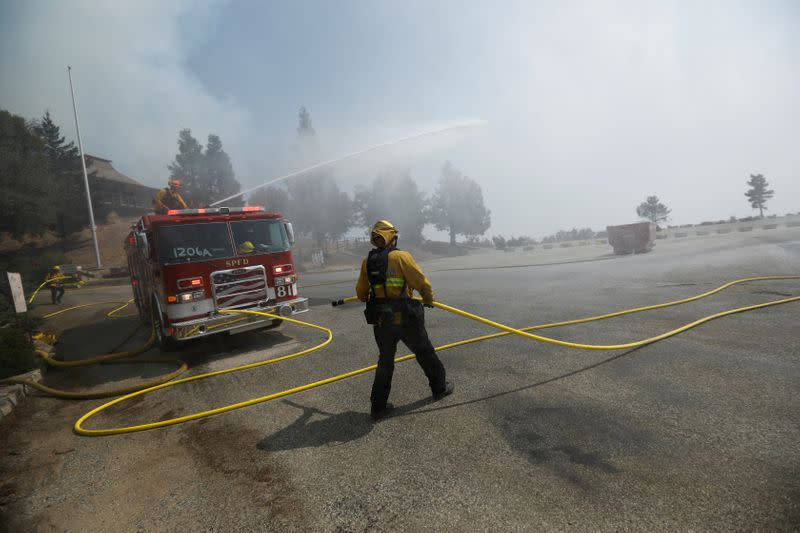 Firefighters during the Bobcat Fire in Los Angeles