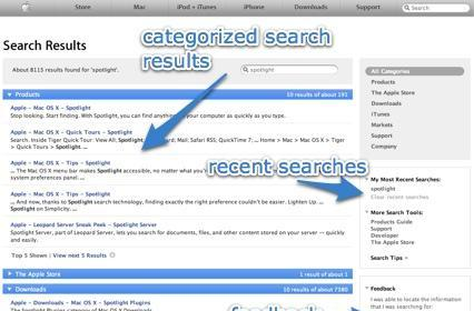 Apple.com has new Spotlight interface for search