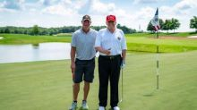 Donald Trump golfs with NFL great Brett Favre at Bedminster club